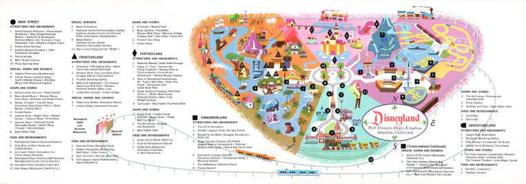 1963 Disneyland map. Image: https://www.flickr.com/photos/randar/15941495787 © Disney