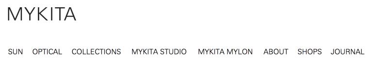 Mykita's navigation structure