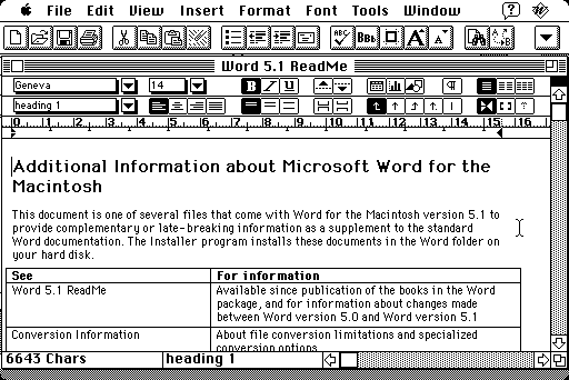 An early version of Microsoft Word for the Mac. The user can see commands laid out in menus and button bars. Image: betalogue.com (http://www.betalogue.com/2011/05/24/word51-nostalgia/)