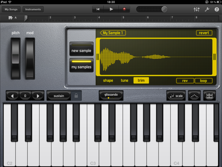Garageband on iOS. Image: Ask.audio (https://ask.audio/articles/record-and-edit-your-own-samples-in-garageband-for-ipad)