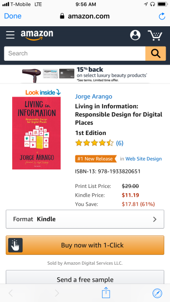 Living in Information #1 New Release in Web Site Design