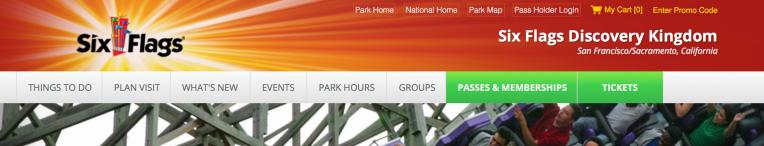 Six Flags Discovery Kingdom website navigation