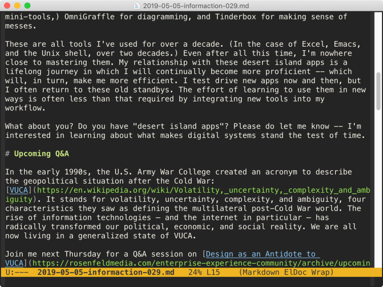 Editing my newsletter in Emacs.