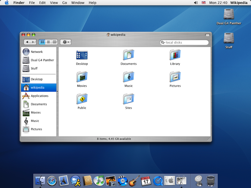 Mac OS X Aqua user interface.