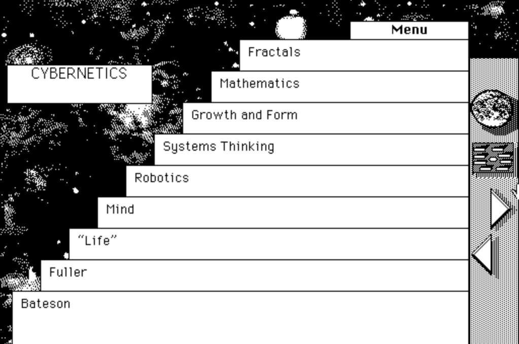 A screenshot from The Electronic Whole Earth Catalog
