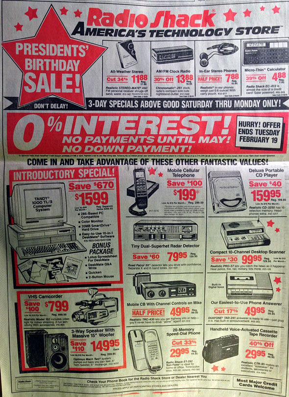 1991 Radio Shack ad. Taken from a Huffington Post post that points out the iPhone superseded all of these devices.