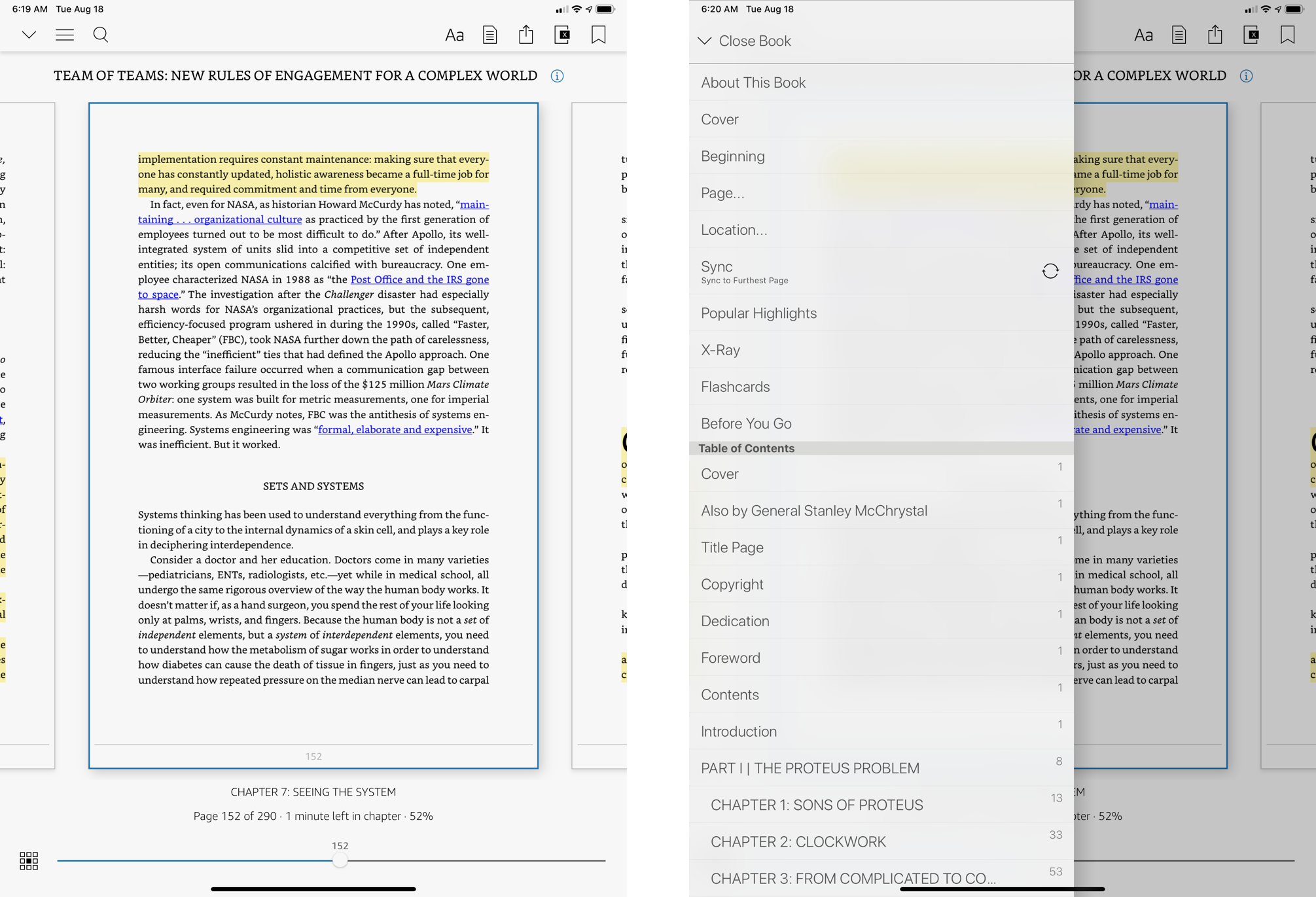"""Navigation menus within a book in the Kindle for iPadOS app. The screen on the right shows the contents of the """"hamburger"""" menu."""