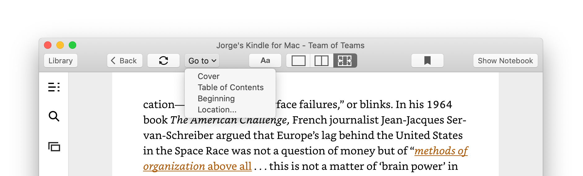 """Navigation menus within a book in the Kindle app for macOS. Note the dedicated """"Sync to Furthest Page Read"""" button next to the """"Go to"""" menu."""