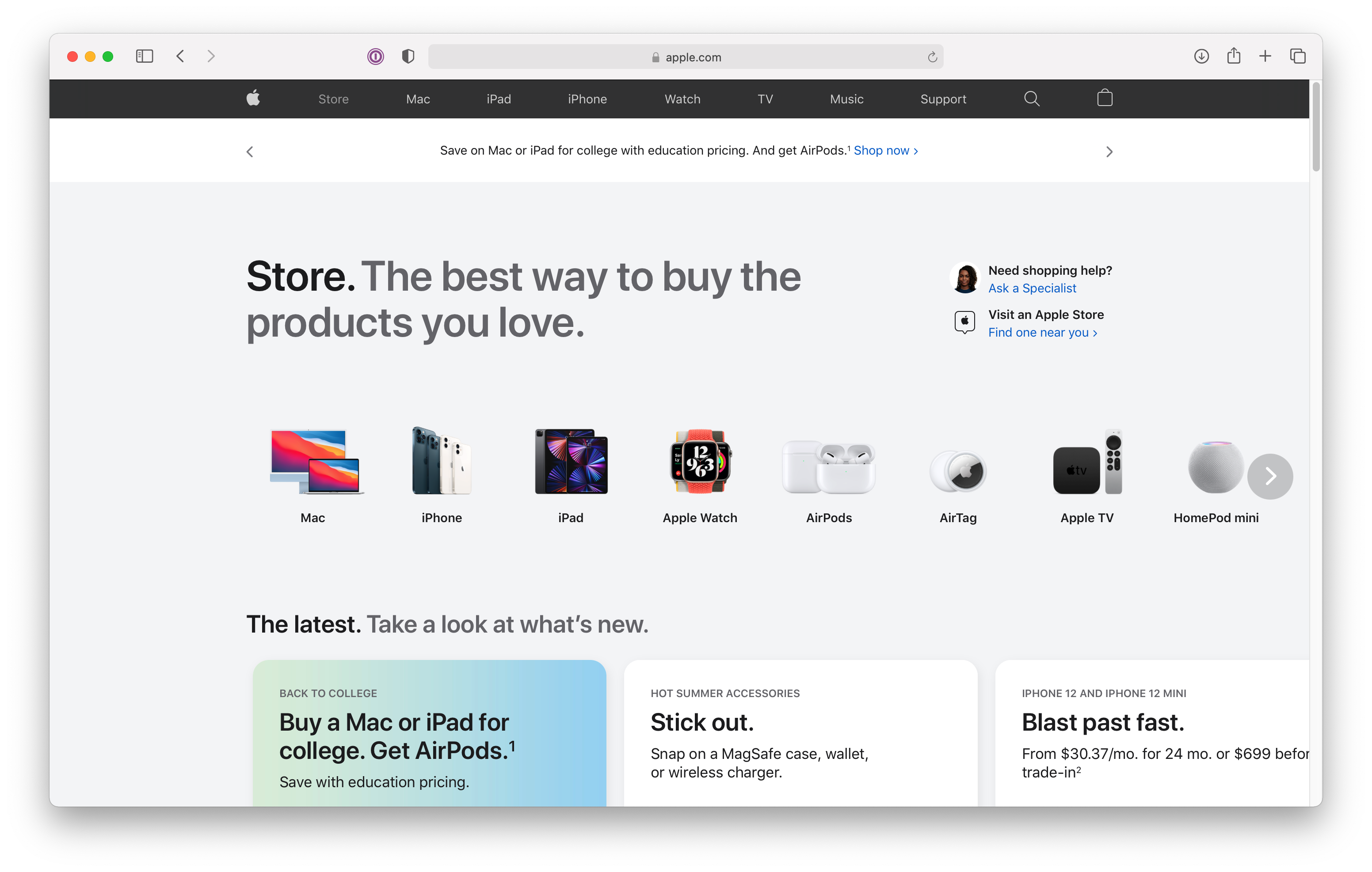 The new Store page on apple.com