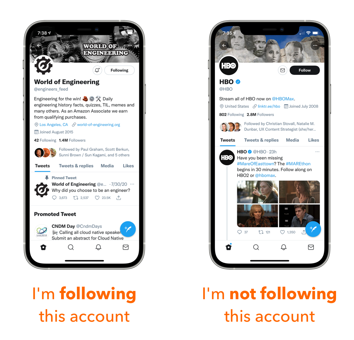 New Twitter UI showing accounts I'm following and not following.
