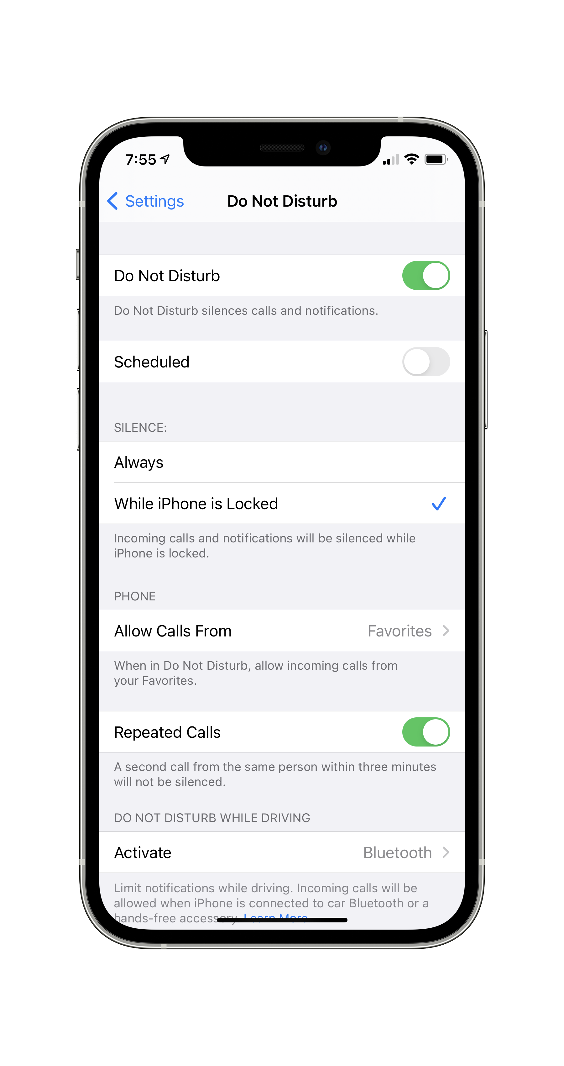 Do Not Disturb options in the iOS Settings app.